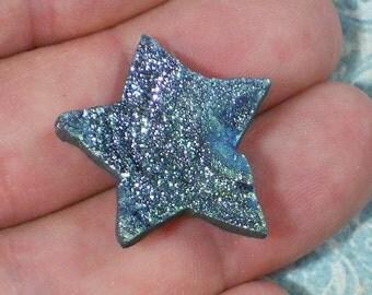 Star Drusy Green & Pale Silver Pink 27mm Titanium Crystal Druzy Cabochon (D2313)