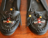 Black Beaded Moccasins Native American Indian Leather 8.5