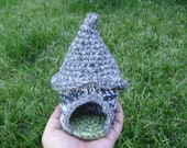 Gnome House. Doll House, Elf, Fairy Hobbit Woodland Forest Waldorf Inspired Home. Hand crocheted. Free Shipping