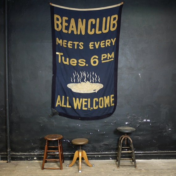 Antique Bean Club Banner, Hand Stitched Folk Social Club Sign