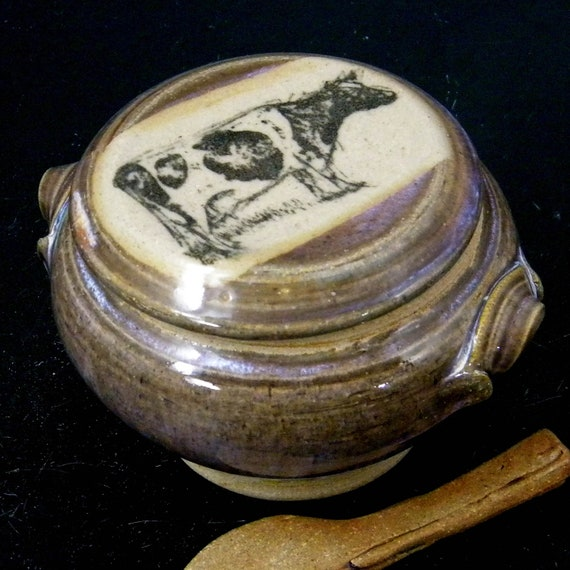 Stoneware French Butter Crock With Clay Paddle Knife Bessie The Cow Design