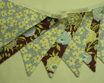 Free USA Shipping/Brown and Blue Floral Fabric Banner/Banner/Fabric Flags/Photo Prop/Birthday Party/Nursery Decor/Home Decor Banner