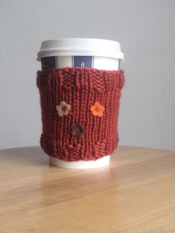 Rust with Orange Beige and Brown Flowers Coffee Cup Cozy Travel Cozy Vegan Knit Cozy