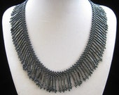 Vintage Black Beaded Fringed Collar Necklace
