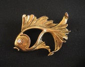Vintage Large Fish Pin Rhinestone Eye 1960s