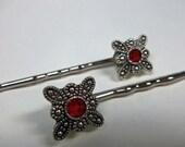 Red Swarovski Element Bobby Pins