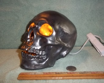 Awesome New Light Up Human Skull Pewter Metallic Finish Made of Ceramic  Skulls Terminator