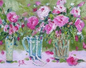 Original Print of oil painting Floral Peonies  shabby chic Pink and Green impressionist