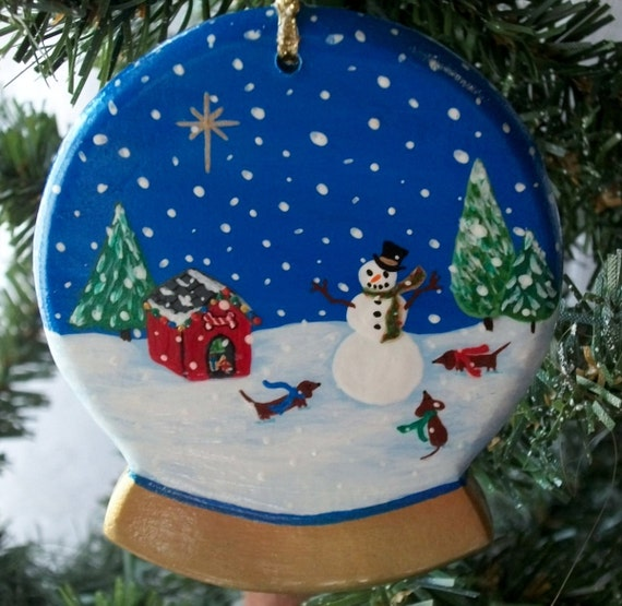 Christmas Ornament - Dachshunds and Snowman in a Snow Globe