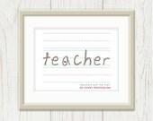 Teacher Quote: Teachers are the Start of Every Profession - Teacher Gift, Teacher Appreciation, Notebook Paper, Red 8 x 10