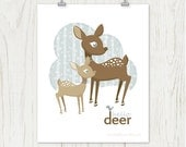Hello Deer Poster: Doe and Fawn Deer Print - Deer, Woods, Birch Tree, Winter Snow - Blue, Khaki, Tan, Brown 8 x 10