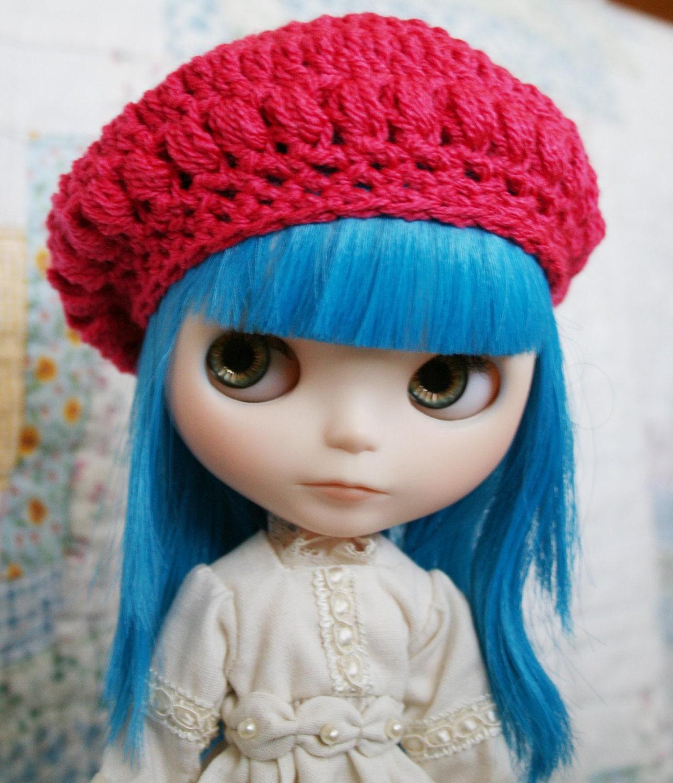 Crochet Hat Pattern For Blythe : Bobble Beret for Blythe Fuchsia Crochet Hat