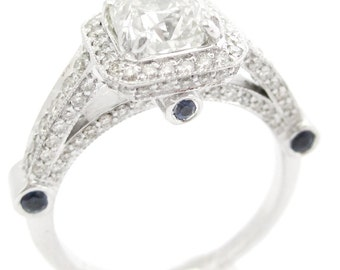 2.20ctw round cut antique three sided diamond engagement ring with sapphire accents R187