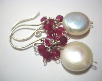 Ruby Coin Pearl Cluster Earrings