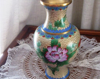 Vintage Cloisonne Oriental Vase Peony Bird Morning Glory Floral Yellow Pink Green 1970s