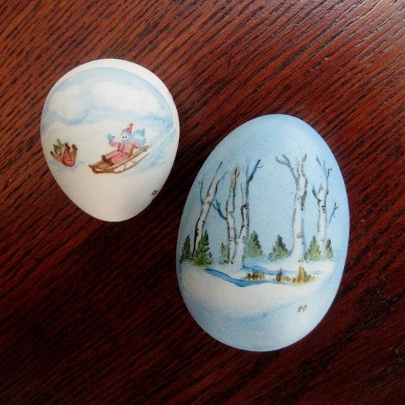 Vintage Christmas Egg Porcelain Hand Painted Winter Scene Sled Ceramic Set of Two 1980s