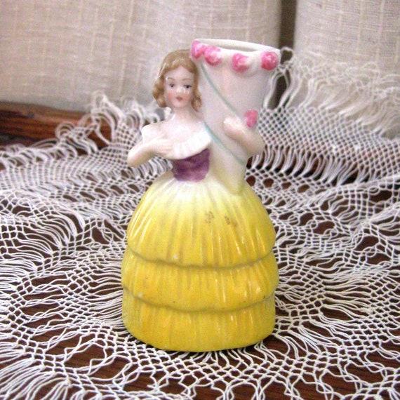 Vintage Victorian Lady Vase Miniature Yellow Pink Purple 1940s