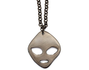 Metal Alien Chain by WATTO Distinctive Metal Wear-Handmade metal charm on Gunmetal Chain, Groomsmen, or Birthday gift