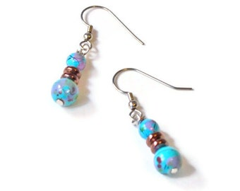 Copper Metallic and Turquoise Picasso Magnetic Hematite Earrings