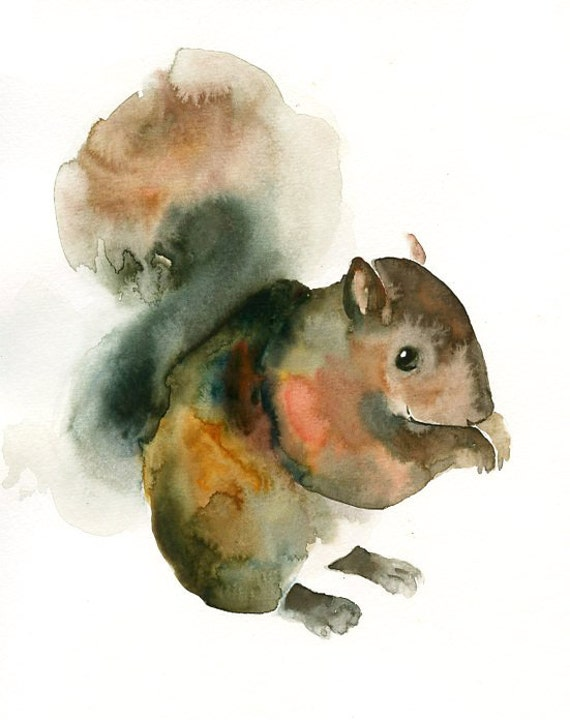 SQUIRREL Original watercolor painting 8x10inch (vertical orientation)