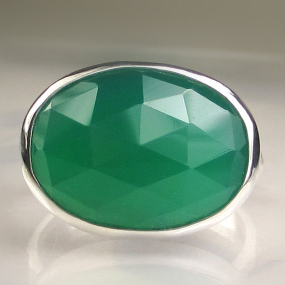SALE - Green Onyx Cocktail Ring in Sterling Silver - 20% OFF