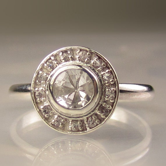 White Sapphire Halo Ring in Sterling Silver