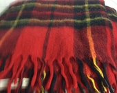 Vintage Red Plaid  Throw/Blanket / Stadium Blanket with tassels