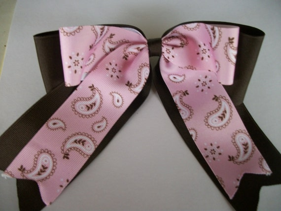 Western, Brown and Light Pink Bandanna Print  Extra Large Cheer Dance Team Double Stacked Hair Bow with Tails