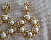 Vintage 1980s  St. Johns faux pearl & Brass clip Earrings perfect condition
