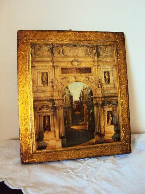 Vintage Tole Gilt Italian Florentine Roman Cathedral picture Wood Wall plaque