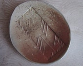 Handmade Stoneware Dish with Impression of Skeleton Key