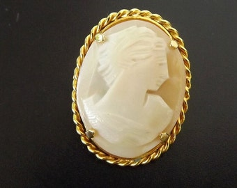 Vintage Cameo Brooch - Hand Carved - Genuine Coral - Victorian Style - Retro - Fine Jewelry