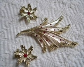 Vintage Jewelry Set Brooch and Clip Earring Set Rhinestone Accent Jewelry 1960's Collectible Costume Jewelry