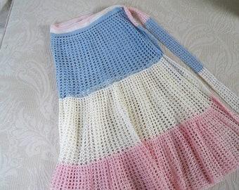 Vintage Apron Crochet Apron Blue, White and Pink