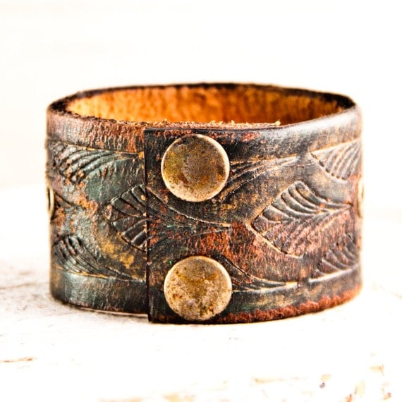SALE Leather Cuffs Bracelets Vintage Handmade Upcycled Jewelry - CLEARANCE