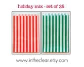 Set of 50 - Traditional Sweet Shop Holiday Christmas Mix Red and Green Candy Stripe Paper Bags - 5 x 7 New Style