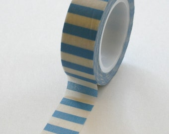 Washi Tape - 15mm - Blue and White Horizontal Stripe - Deco Paper Tape No. 101