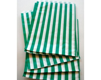 Set of 100 - Traditional Sweet Shop Green Candy Stripe Paper Bags - 5 x 7 New Style
