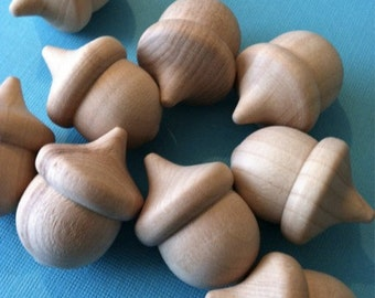 Unfinished Wooden Acorns 1 3/8 Inch - Pack of 12 - Natural Wood for Craft Projects and Packaging