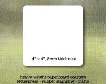 4 Inch Square Blank Paper Coasters - set of 25 - Crafting or Letterpress or Stamping