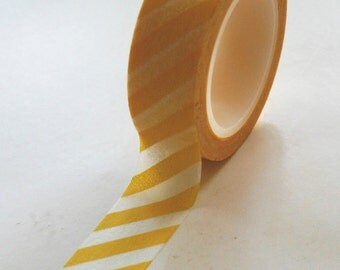Washi Tape - 15mm - Yellow and White Diagonal Stripe - Deco Paper Tape No. 156