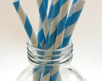 25 Bright Blue - Stripe Paper Straws Made in USA - Perfect for Parties - Favors--Free Editable DIY Tags PDF