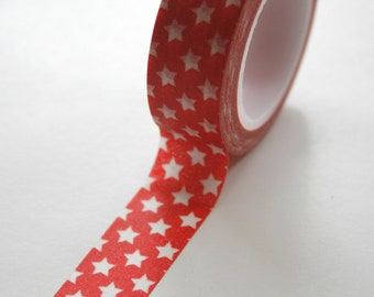Washi Tape - 15mm - White Small Stars on Red - Deco Paper Tape No. 455