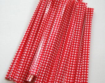 Red Gingham Twist Ties - set of 25
