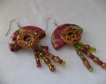 Mardi Gras Dangle Raspberry and Lime Green Earrings