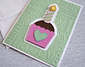 Cupcake Birthday Card in Mint Green and Pink