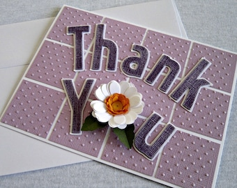 Embossed Thank you Card with a Quilled Flower