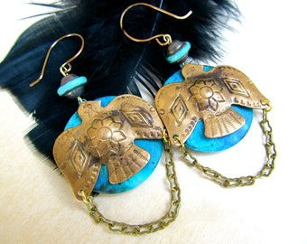 Thunderbirds - Tribal Dangle Earrings in Turquoise and Antique Brass