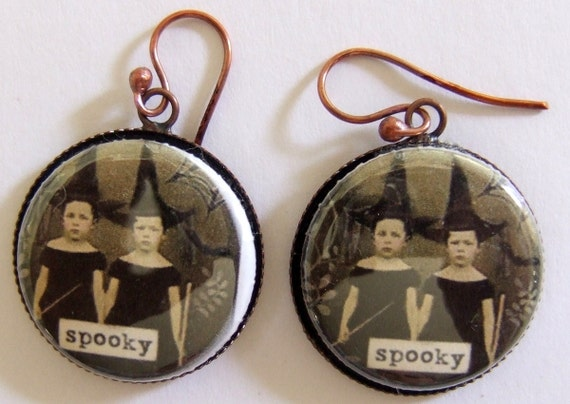 Altered Art Spooky Little Witches in Training Charm Copper Setting Earrings OOAK