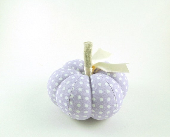Lavender Polka Dot Pumpkin Pincushion Purple Fall Decor